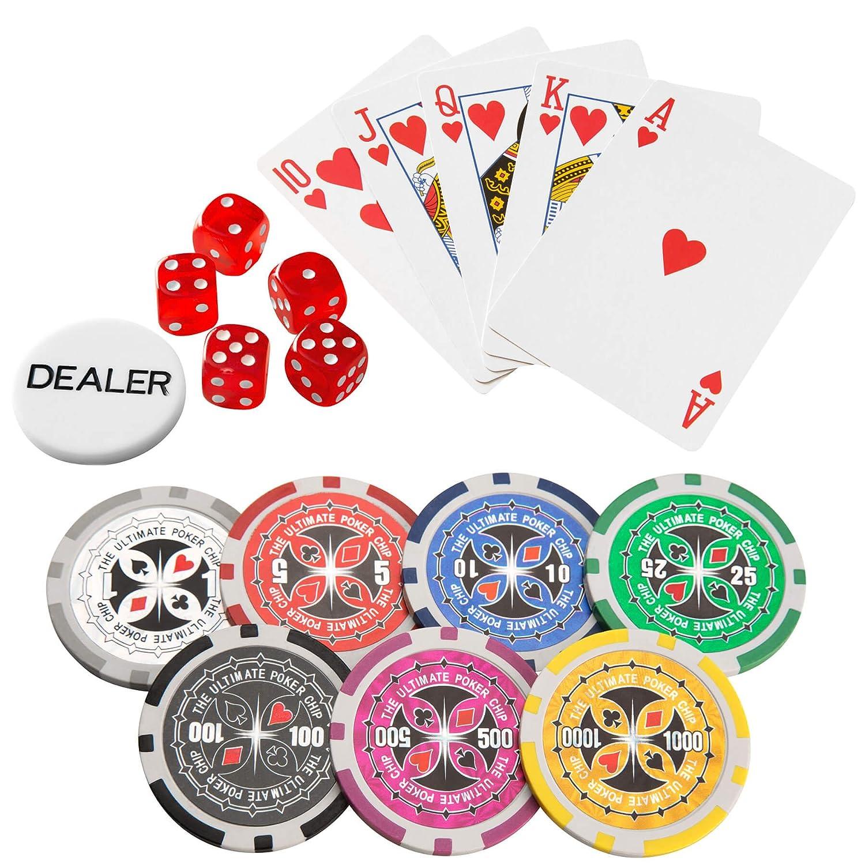 TecTake 402557 Malet/ín de P/óker Aluminio con Fichas L/áser Poker Chips Incl 5 Dados 2 Barajas de Cartas 1 Ficha de Dealer 1.000 Pieza Plateado