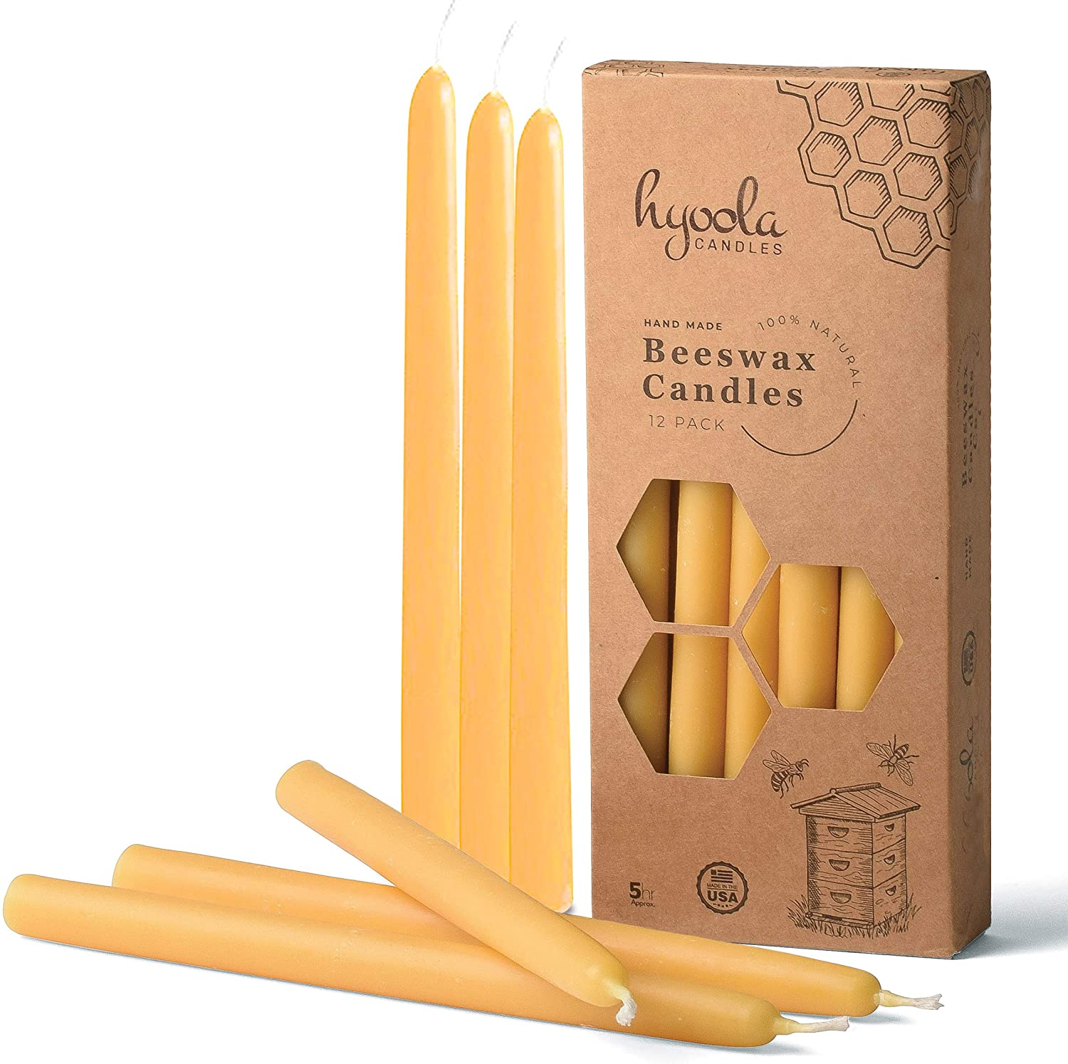 Amazon Com Hyoola 9 Inch Beeswax Taper Candles 12 Pack Handmade All Natural 100 Pure Unscented Bee Wax Candle Tall Decorative Golden Yellow 5 Hour Burn Time Home Improvement