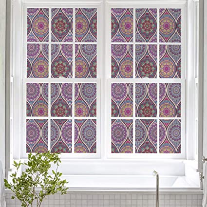 Vinyl Stained Glass Window Film.Dktie Window Cling Stained Glass Window Film Decorative Window Film Vinyl Non Adhesive Privacy Film For Bathroom Shower Door Heat Cotrol Anti Uv