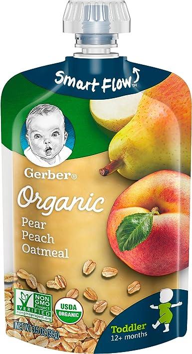 Gerber Organic Los alimentos para niños pequeños alimentos para bebés, pera melocotón harina de avena, 3.5 Oz bolsa (paquete de 6): Amazon.es: Alimentación y bebidas