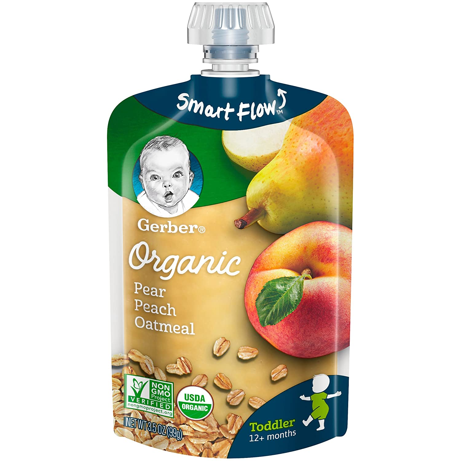 Gerber Organic Purees, Pear, Peach & Oatmeal Toddler Food, 3.5 Ounce Pouch (Pack of 12)