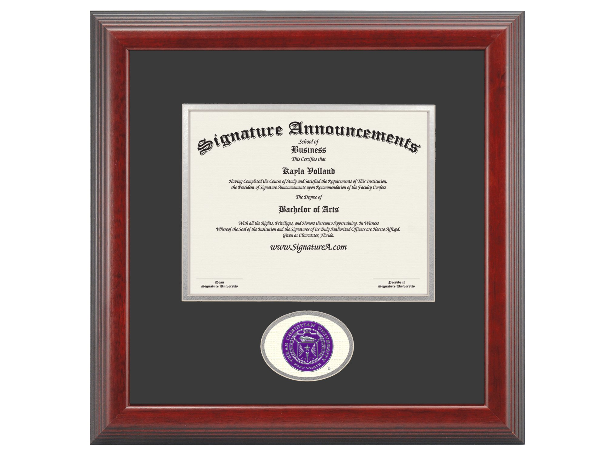 Signature Announcements Texas Christian University (TCU) Undergraduate and Graduate/Professional/Doctor Graduation Diploma Frame with Sculpted Foil Seal (Cherry, 16 x 16) by Signature Announcements