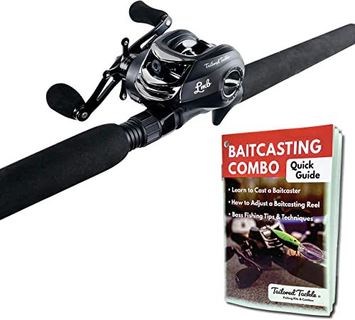 Tailored Tackle Bass Fishing Rod and Reel Right Handed Baitcasting Combo 7 Ft 2-Piece Casting Rods Power Med. Heavy Fast Action 7 BB Baitcast Reels Gear Ratio – 6.3 1 Baitcaster Fishing Pole
