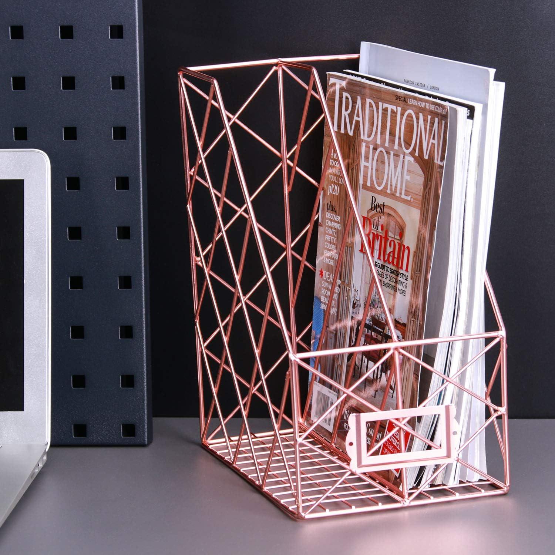 Zeitschriftenhalter Papier Buchst/änder f/ür Post Schallplatten und Schreibtischzubeh/ör 5 F/ächer Schreibtisch-Draht Dokumente Ordner Simmer Stone Aktenordner Gold