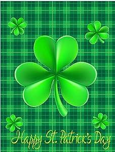 Garden Flag, Green Shamrock Clovers Leaf Lucky Double Sided Garden Yard Flag 12