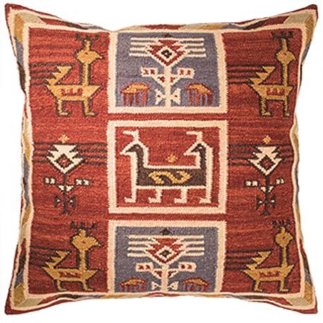 The Indian Arts Canto Kilim Funda de cojín del Comercio Justo Hecho a Mano en telares con 80/20 Lana/algodón y tintes Naturales, 75 x 75
