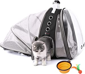 HOTLANTIS Cat Backpack Small Dog Backpack Carrier,Expandable with Breathable Mesh, Airline Approved, for Travel, Hiking, Walking & Outdoor Use
