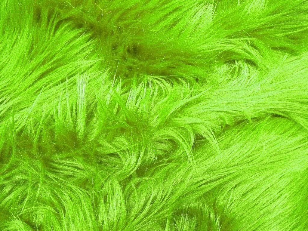 FAUX FUR SHAGGY LIME GREEN LONG PILE HAIR FABRIC BY THE YARD