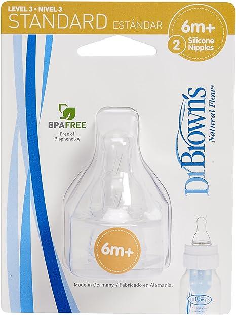 6meses Dr Tetina de silicona boca ancha Nivel 3 Browns Options +