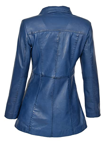 66fc3ae896088 Femmes Dernières 3/4 Aménagée Réel Manteau De Cuir Dames Branché Fermeture  éclair Veste Carol Bleu: Amazon.fr: Vêtements et accessoires