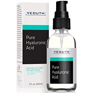 Hyaluronic Acid Serum for Face by YEOUTH - 100% Pure Clinical Strength Anti Aging Formula! Holds 1,000 Times Its Own Weight in Water, Plumps and Hydrates Skin, All Natural Moisturizer (2oz)