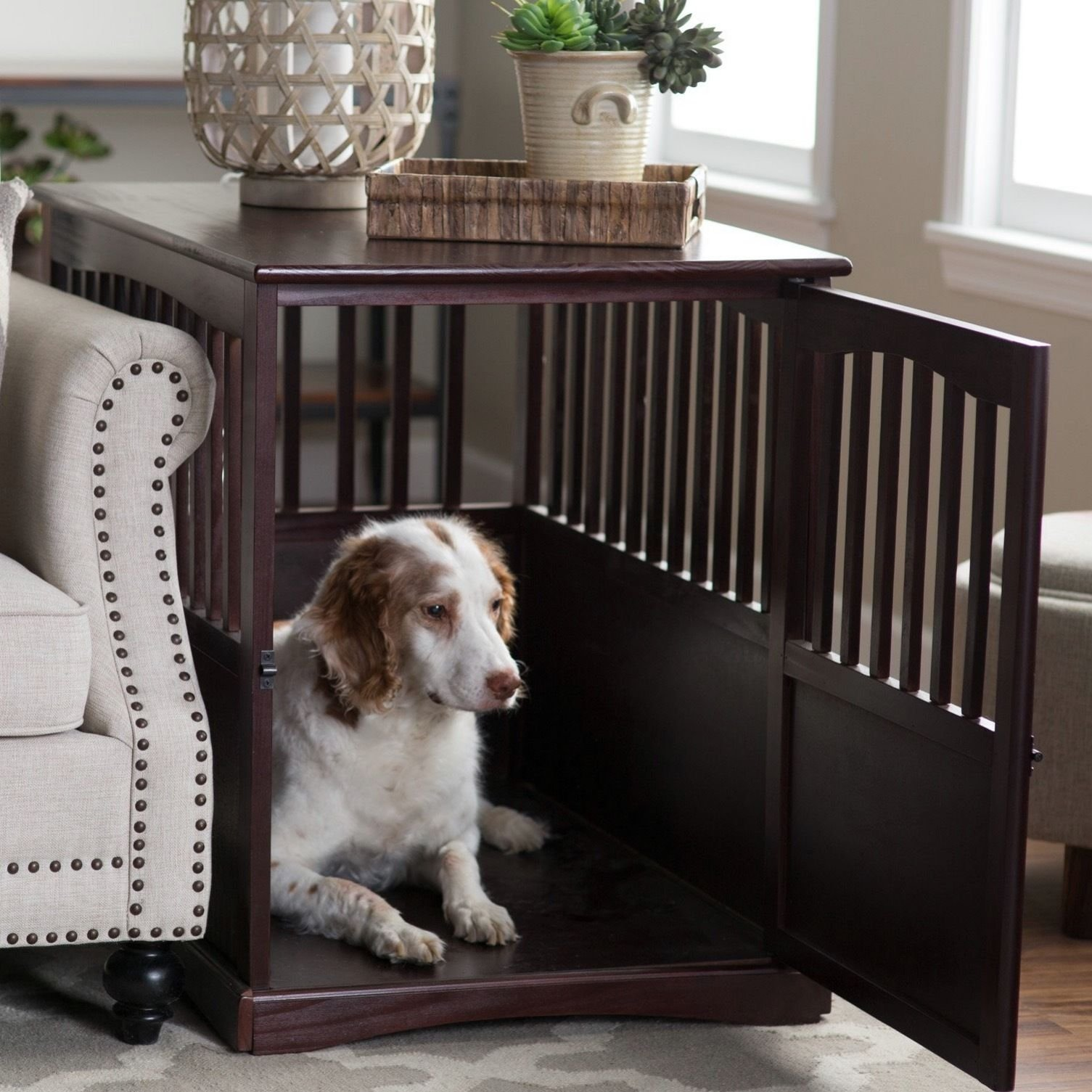 Dog Crate Kennel Cage Bed Night Stand End Table Wood Furniture Cave House Room Large size / Dark Brown. by Newport