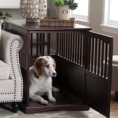 Dog Crate Kennel Cage Bed Night Stand End Table Wood Furniture Cave House Room Large size / Dark Brown.