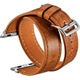 V-MORO Vintage Crazy Horse Leather Bands Compatible with iWatch 38mm/40mm Women Bracelet Replacement for iWatch Series 5 Seri