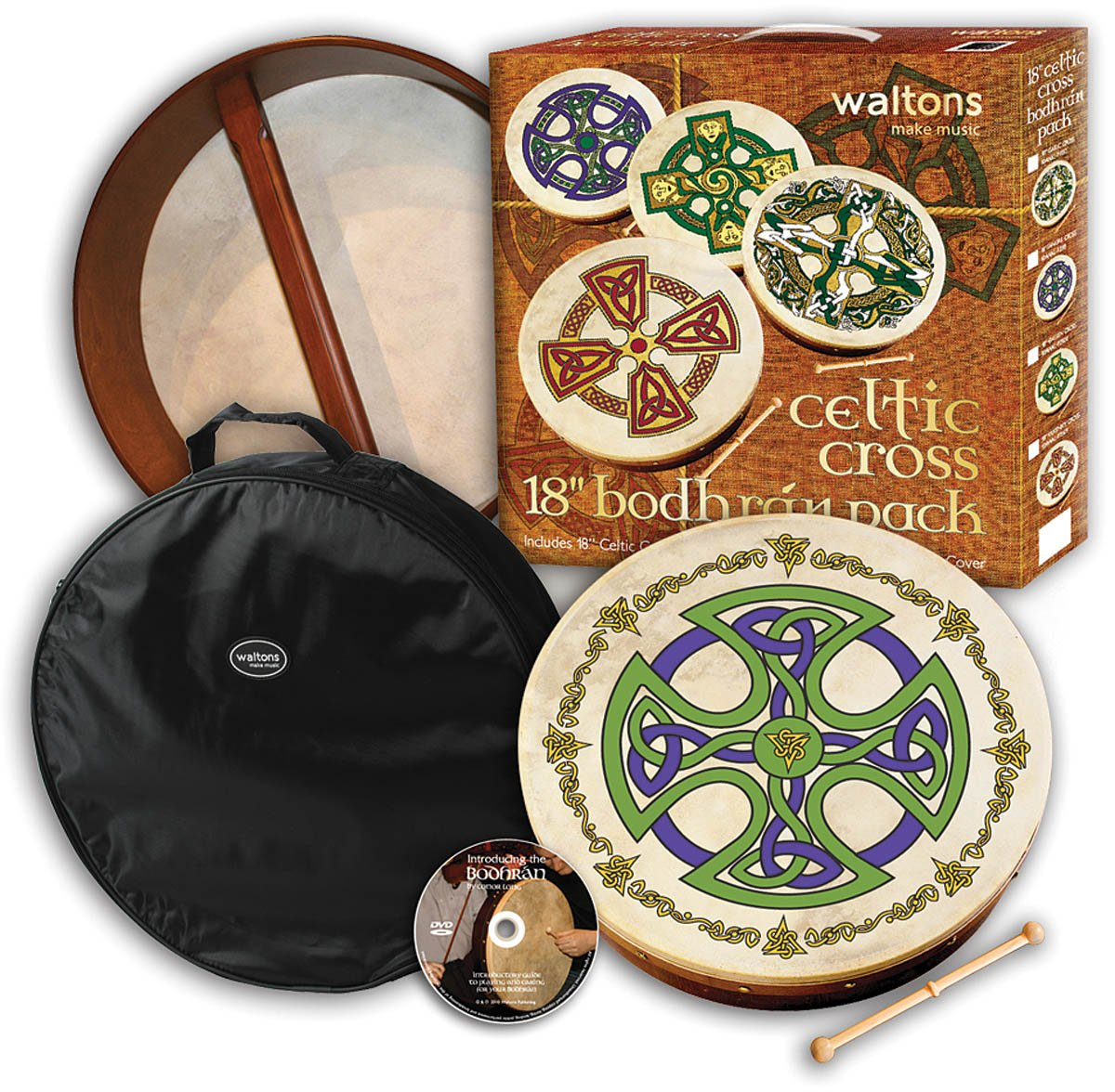 Waltons WMP2503 18-Inch Brosna Cross Bodhran Pack with Beater DVD and Cover