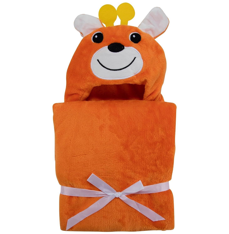 Essuie à capuche pour bébé de Lexikind | Poncho douillet Manteau de bain en microfibres tissu éponge | Essuie de bain amusant à capuche | Peignoir de bain (Lion)