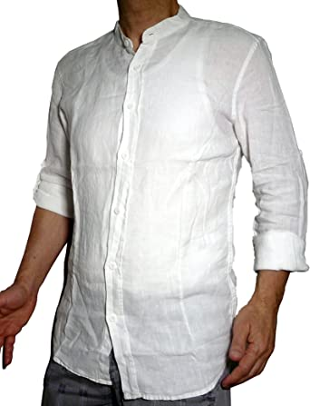 Fantasy - Camisa de algodón puro con corte atado y cuello coreano, manga larga, ligera, fresca, verano para hombre y niño: Amazon.es: Ropa y accesorios