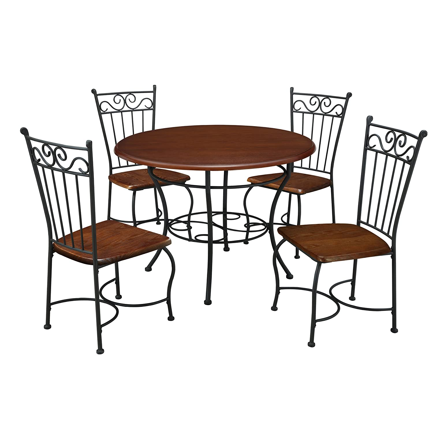 Amazoncom Dorel Living 5 Piece Wood and Metal Cafe Style Dinette