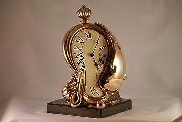 Reloj de pared reloj de chimenea de la escultura de Dalí refractarios, dorado, 23 cm: Amazon.es: Hogar