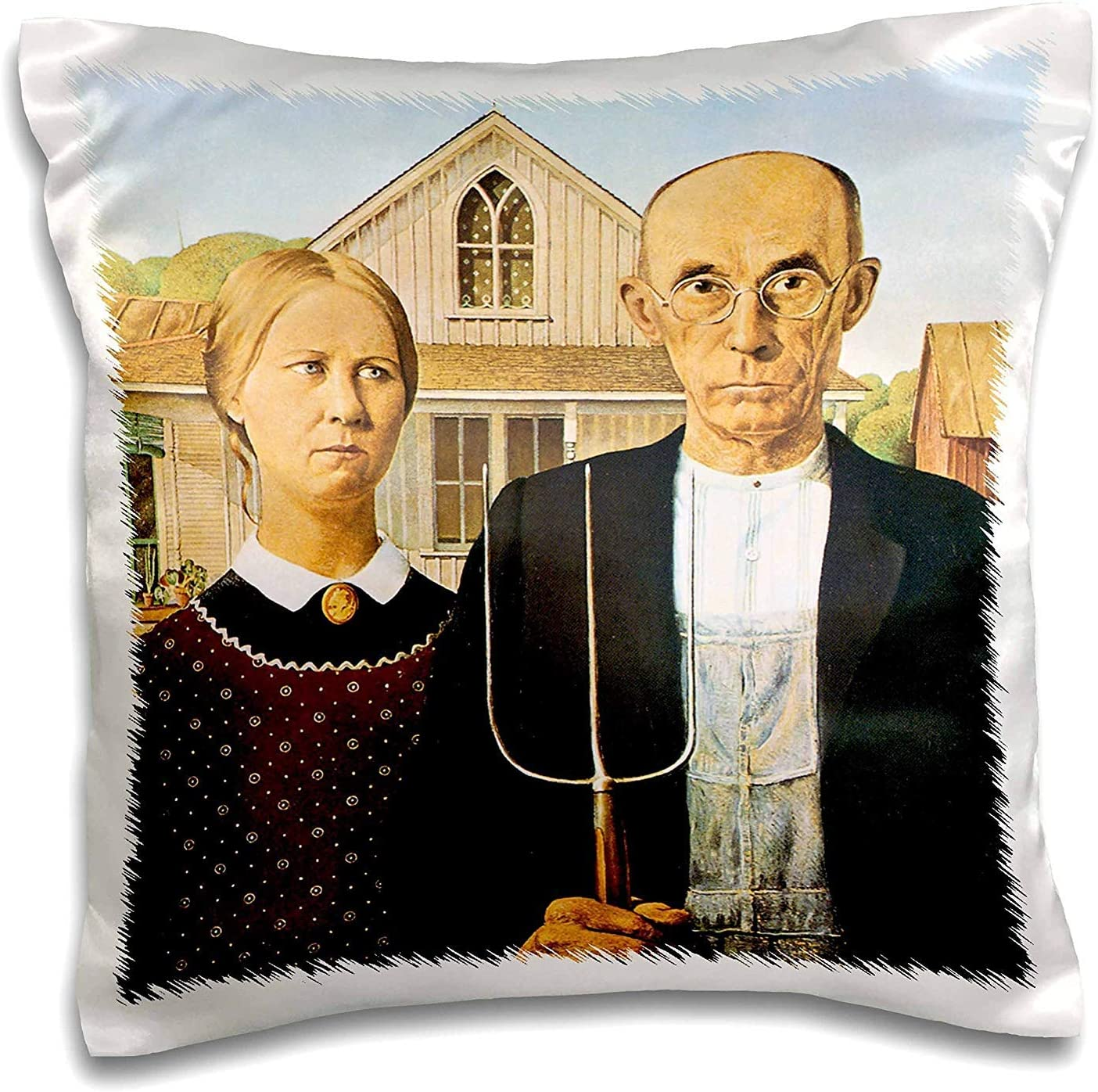 Amazon Com Gooesing American Gothic By Grant Wood Pillow Case Home Kitchen