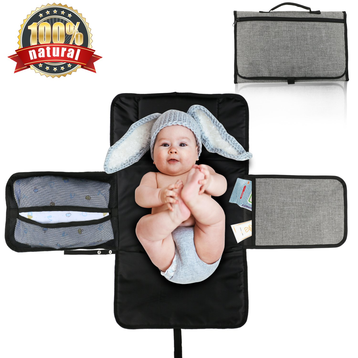 Diaper Pad, CRMICL Portable Diaper Changing Pad, Best Travel Baby Diaper Changing pad Kit, Entirely Padded Mat, Mesh and Pockets PengXuan