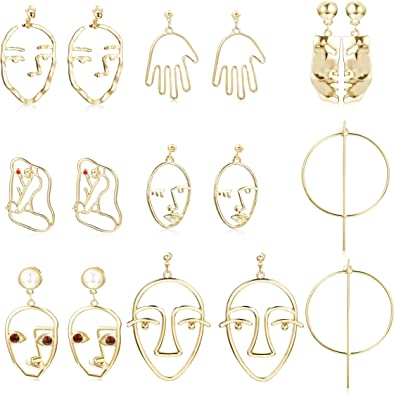 Punk Vintage Abstract Art High Polished Metal Hollow Golden Danlge Drop Earrings Costume Jewelry