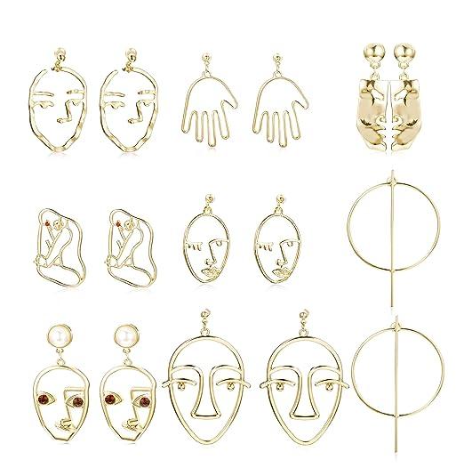 Hanpabum 2 8 Pairs Face Earrings Hollow Geometric Fun Dangle Drop Earrings Women Girls Abstract Art Earrings Punk Style by Hanpabum