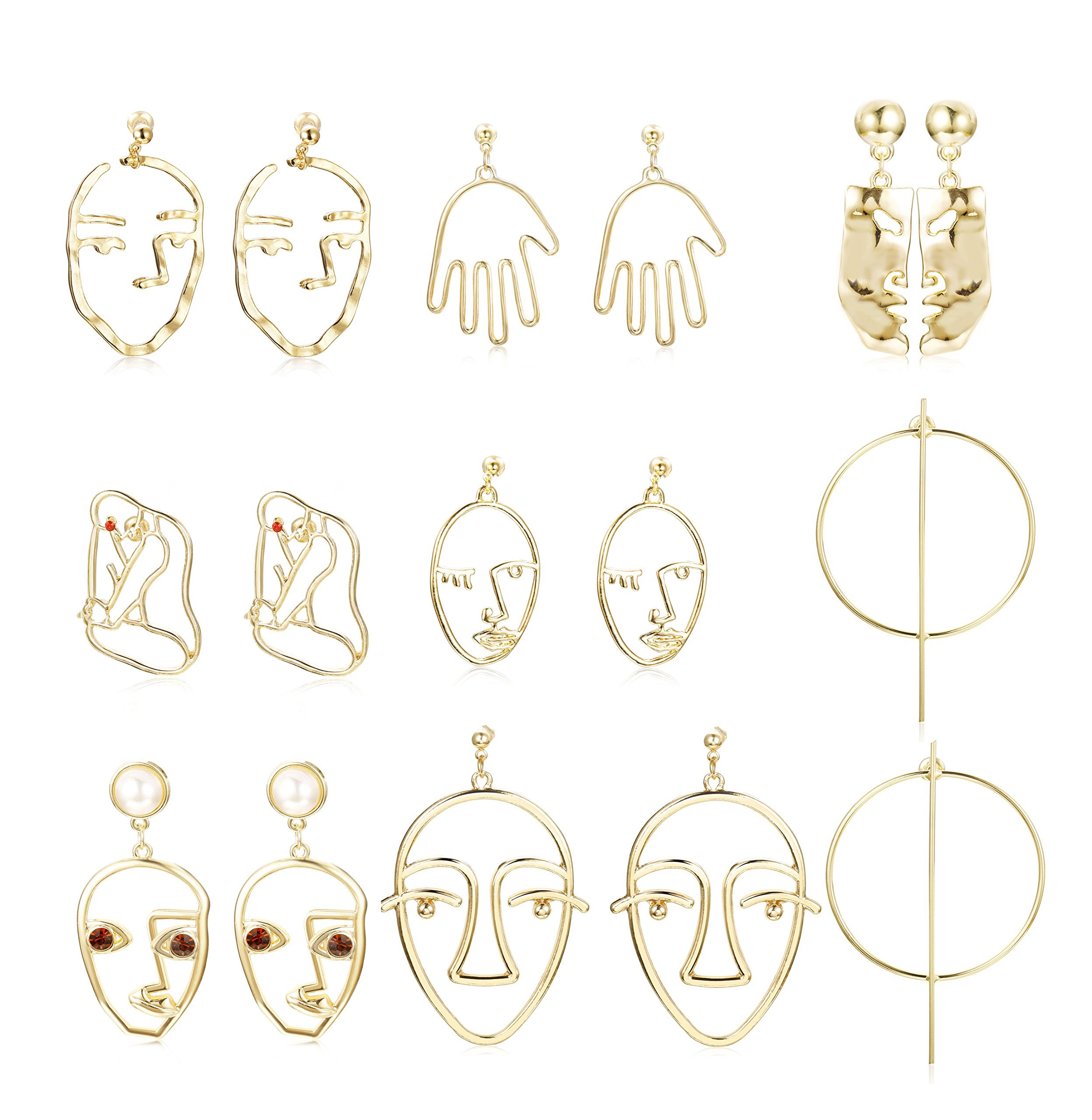 Hanpabum Face Shaped Drop Dangle Stud Earrings for Women Statement Earrings Dangle Hollow Out Punk Style (8PAIRS)
