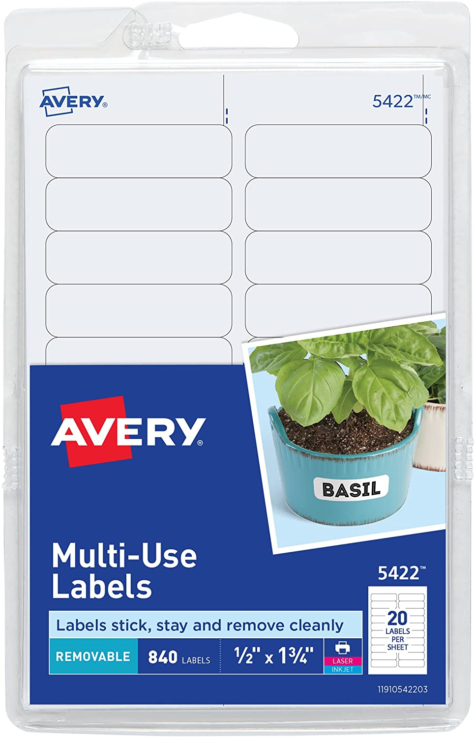 Avery Self-Adhesive Removable Labels, 0.5 x 1.75 Inches, White, 840 per Pack (05422) : Labels For Jars : Office Products