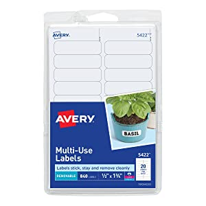 Avery Self-Adhesive Removable Labels, 0.5 x 1.75 Inches, White, 840 per Pack (05422)