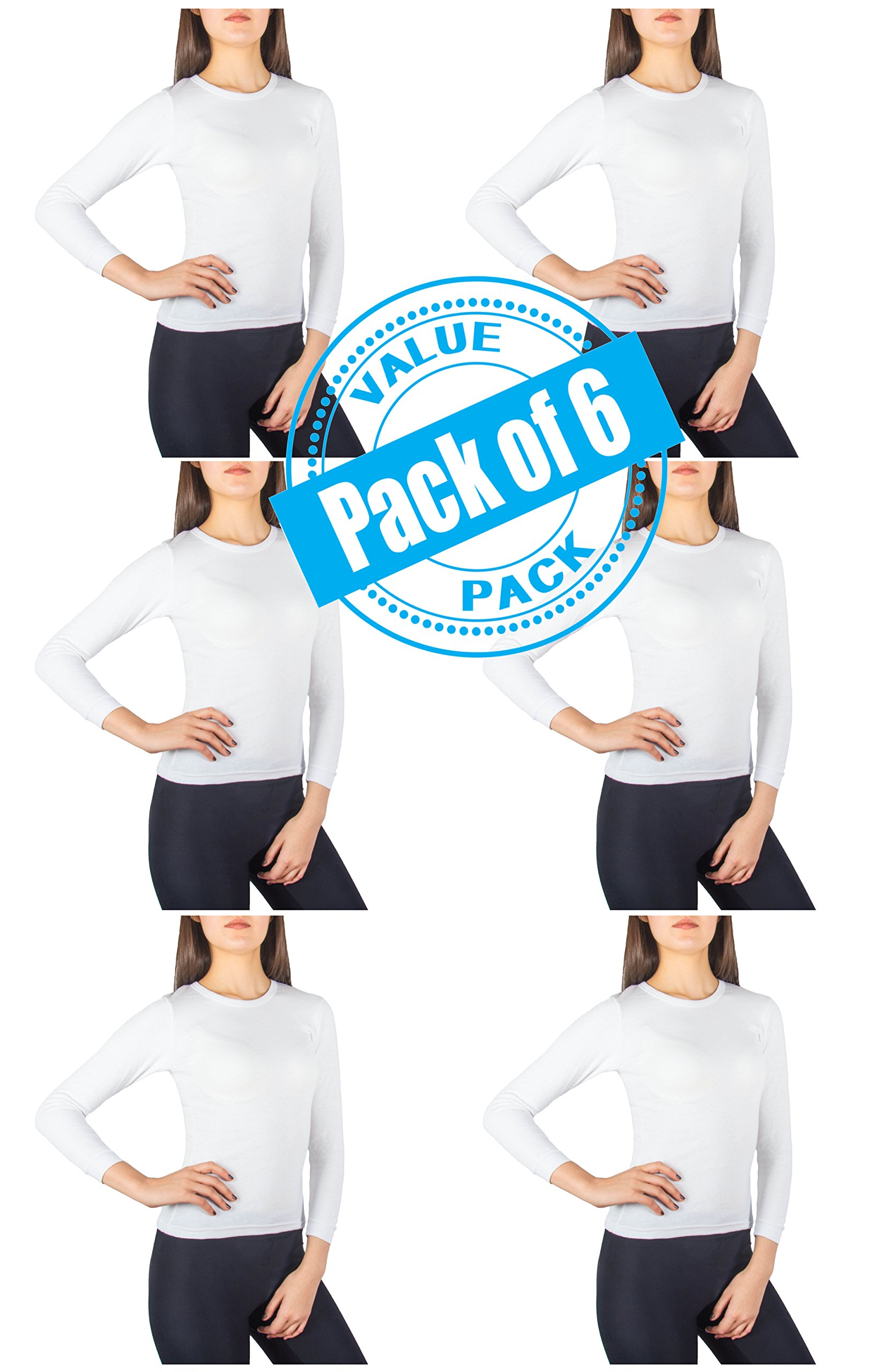 Sexy Basics Womens 6 Pack Women's Long Sleeve Fleece Thermal Top (L- 14-16, 6 Pack - Bright White)