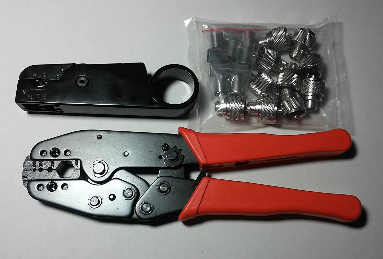 Glarks Coaxial Cable Tool Set RF Connector Crimping Stripper BNC//UHF Male For