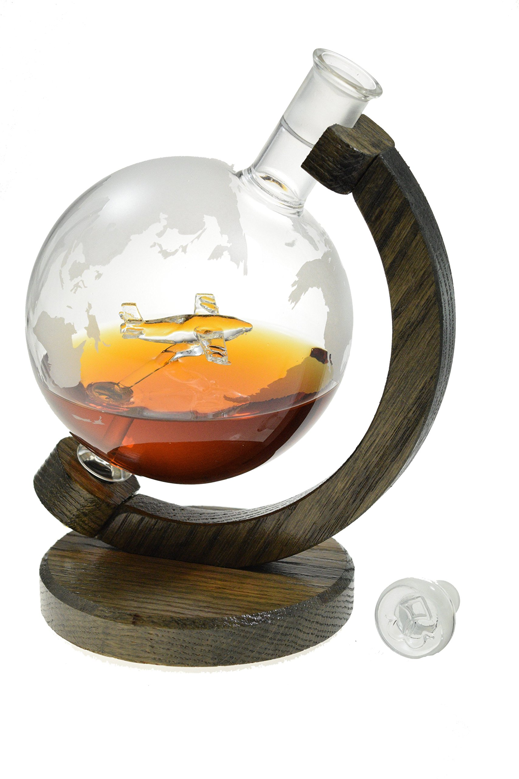 Etched Globe Liquor Decanter with C-130 - Scotch Whiskey Decanter - 1000ml Decanter for Vodka, Bourbon, Rum, Wine, Tequila - (C-130 - Prestige Decanters)