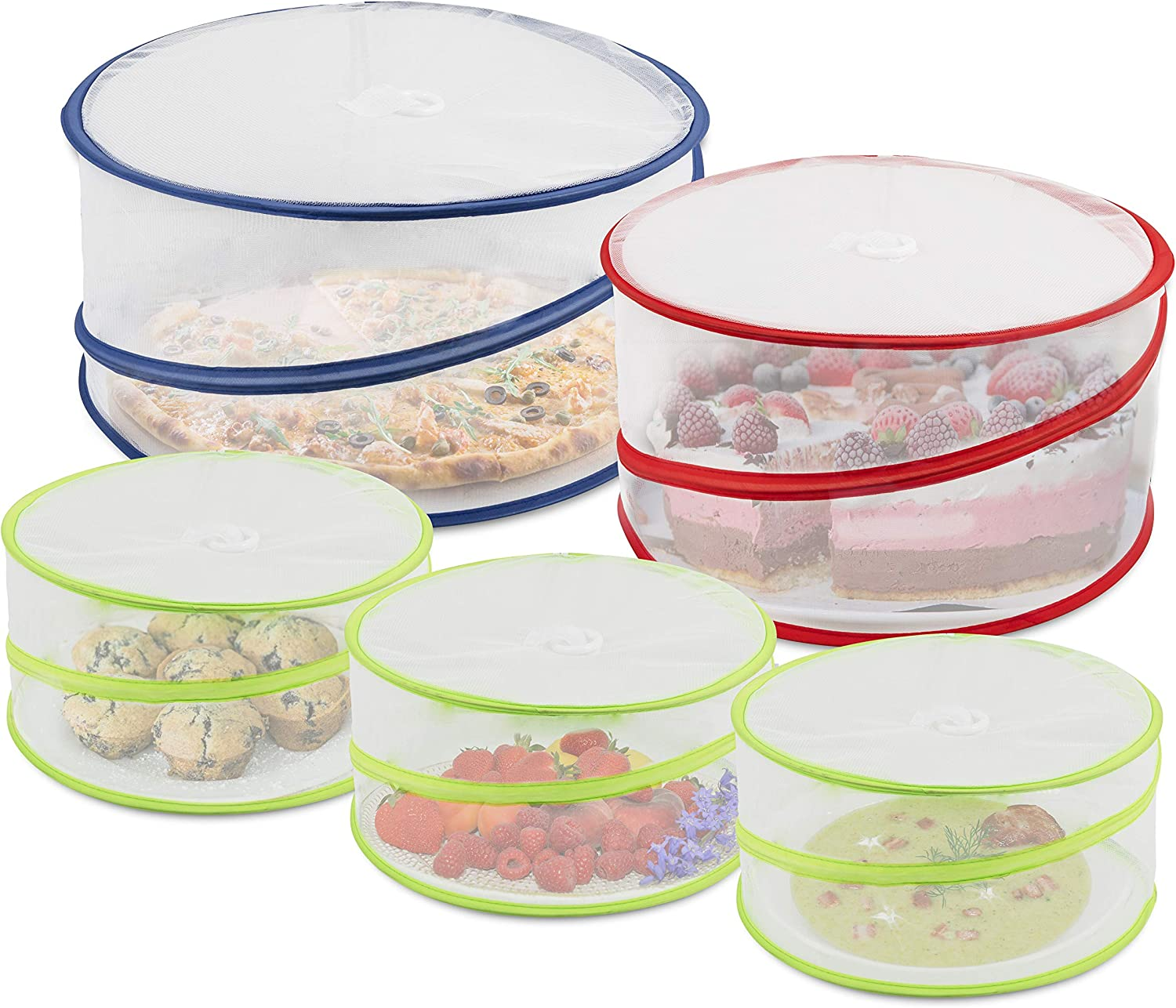 Set of 5 Reusable Mesh Screen Pop up Food Tent Storage Covers, 3 sizes, For Large Platters, Plates and Bowls - Protecting Food and Beverages from Bugs and Insects - Fine Net Design with sprung wire