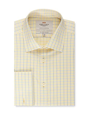 2fdc79ded31 HAWES   CURTIS Mens Formal Yellow   Blue Multi Check Slim Fit Shirt - Double  Cuff