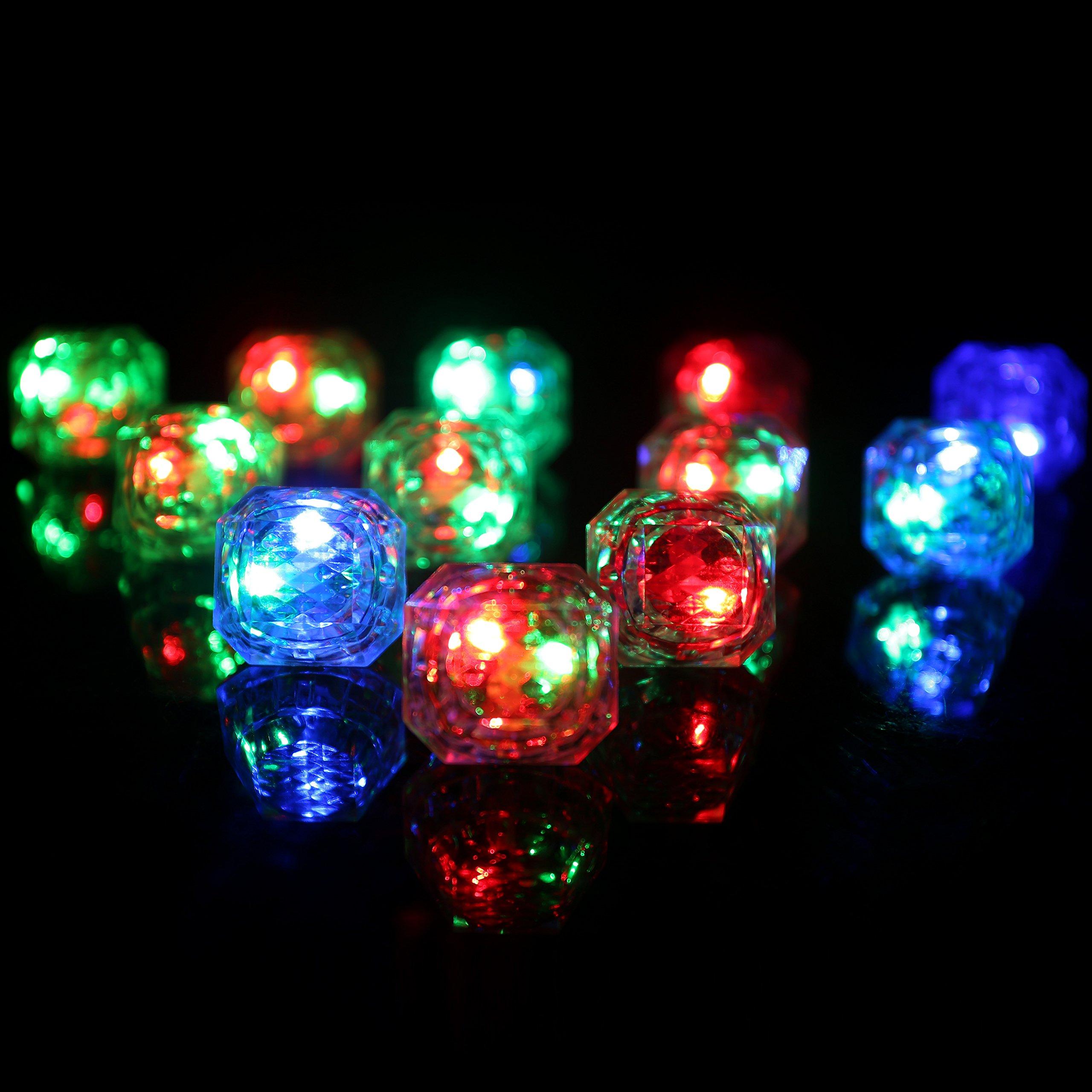 Konsait Flashing Led Light up Ring Toys Diamond Grow in the Dark Jelly Bumpy Rings for Birthday Bachelorette Bridal Shower Gatsby Party Favors (12pcs) by Konsait (Image #7)