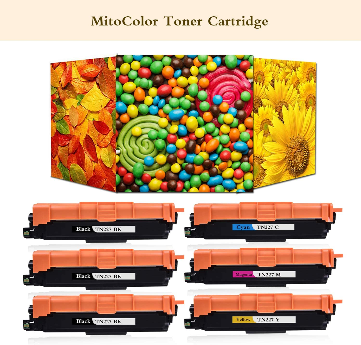 3BK+1C+1M+1Y 6-Pack Replacement Toner Cartridge Compatible for Brother TN227 TN-227 for L3710CW L3750CDW L3730CDW HL-3210CW 3230CDW 3270CDW 3230CDN 3290CDW DCP-L3510CDW Printer Catrtridge