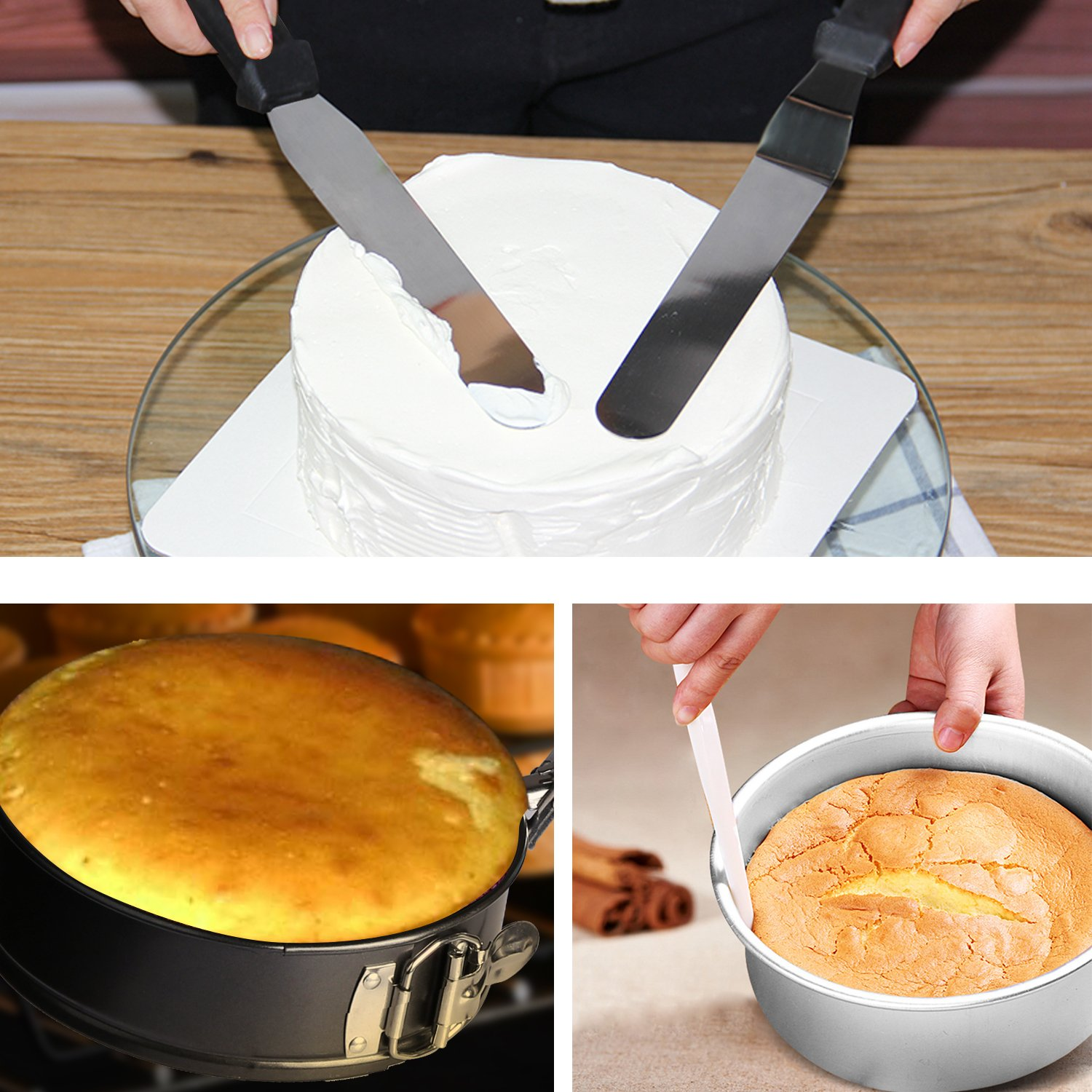 4'' 7'' 9'' Springform Cake Pan and 150-piece Parchment Paper Liners,Non-stick Round Bakeware Cake Pan 2 Icing Spatula 3 Icing Smoother by Hanyan (Image #7)