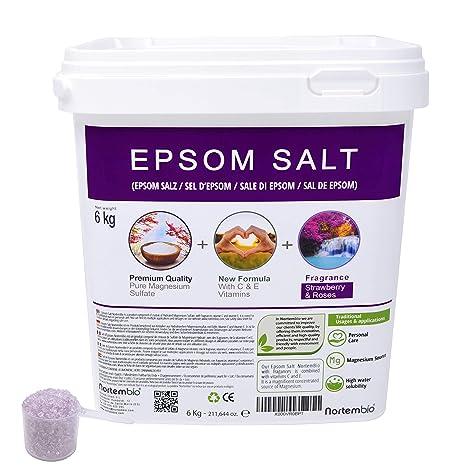 Nortembio Sal de Epsom 6 Kg. Novedosa Fragancia de Fresa y Rosas. Hidratada con
