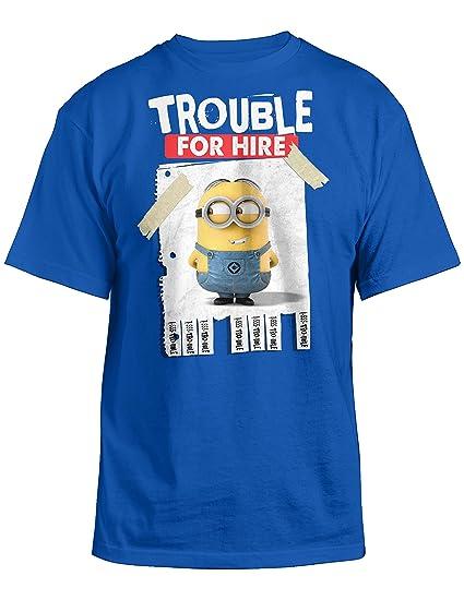4e1207e92153 Amazon.com: Despicable Me 2 Trouble For Hire Youth Blue T-Shirt | M ...