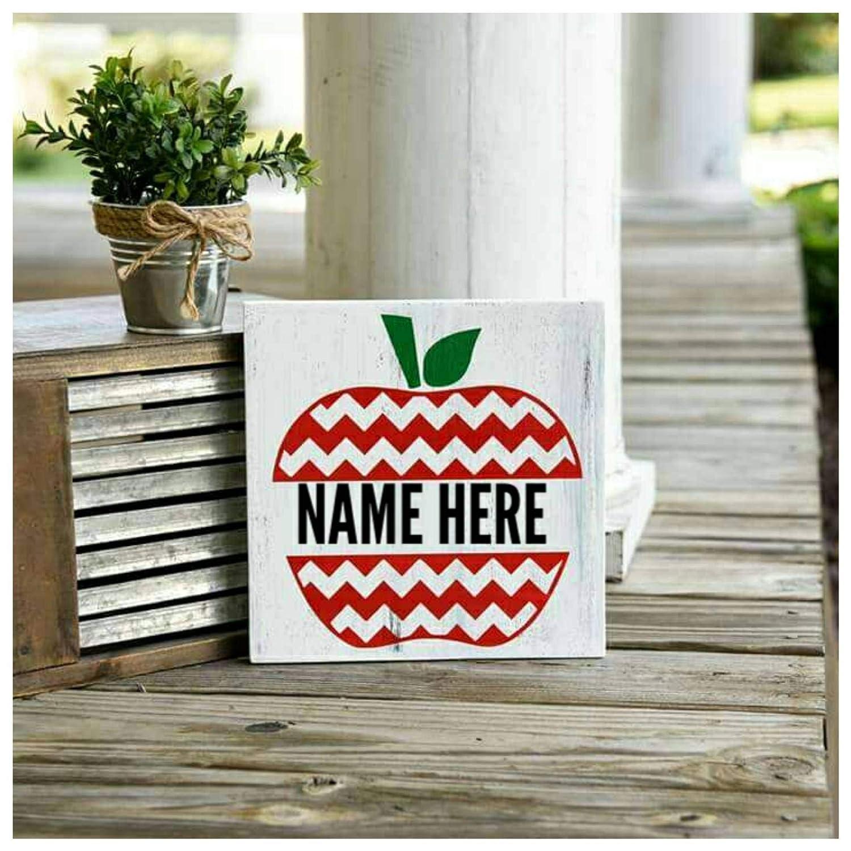 Amazon.com: Rfy9u7 Letrero de madera de manzana I Teacher ...