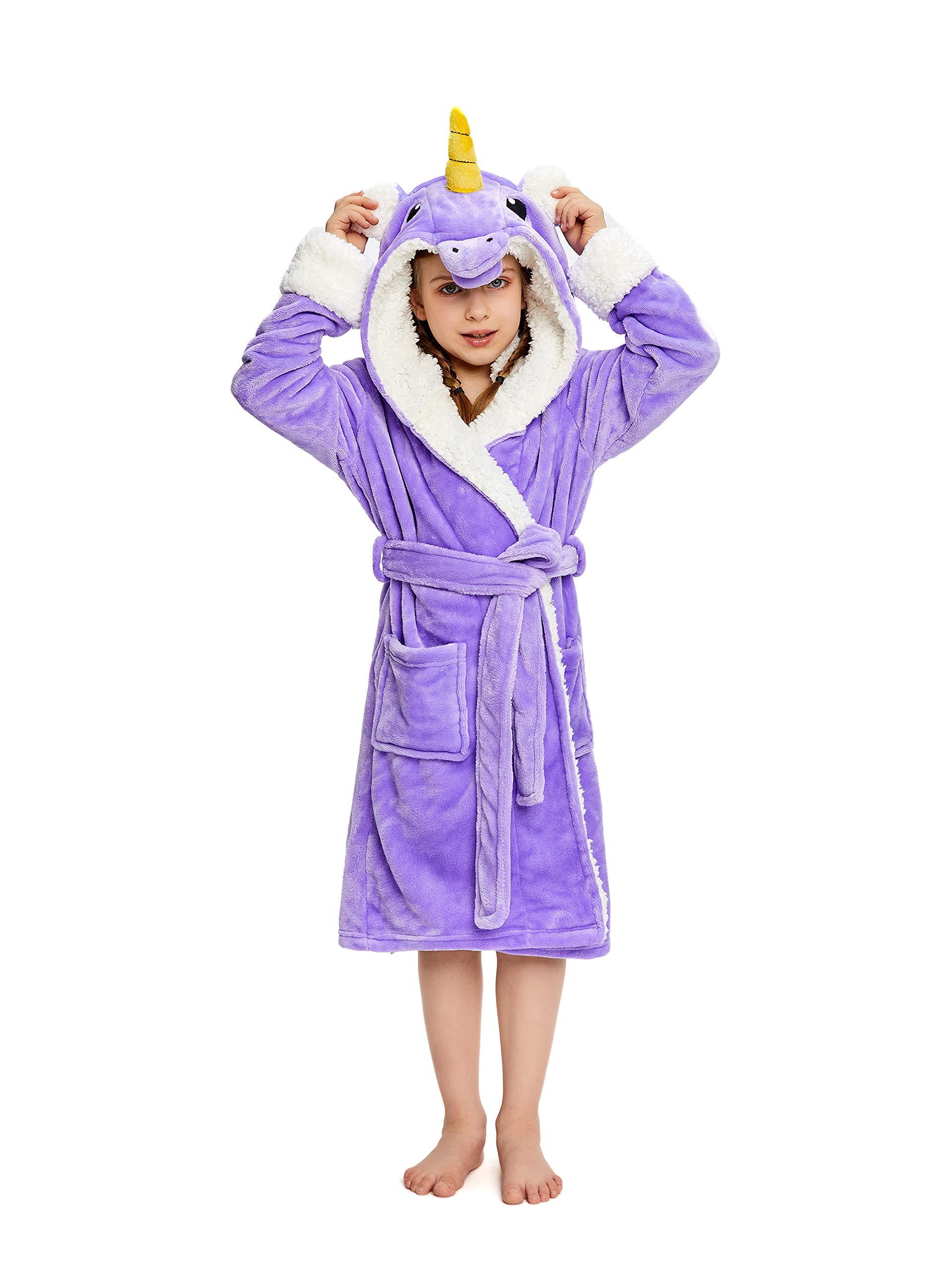 NEWCOSPLAY Unisex Kids Unicorn Plush and Soft Fleece Bathrobe (11-12 Years, Purple Unicorn) by NEWCOSPLAY
