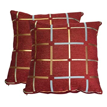 HYXING Buffalo Plaid Pillow Covers 18x18 Chenille Red Throw Pillows Case  Decorative Check Pillowcase Cushion for Sofa Home Car Office Bedroom Pack  of ...
