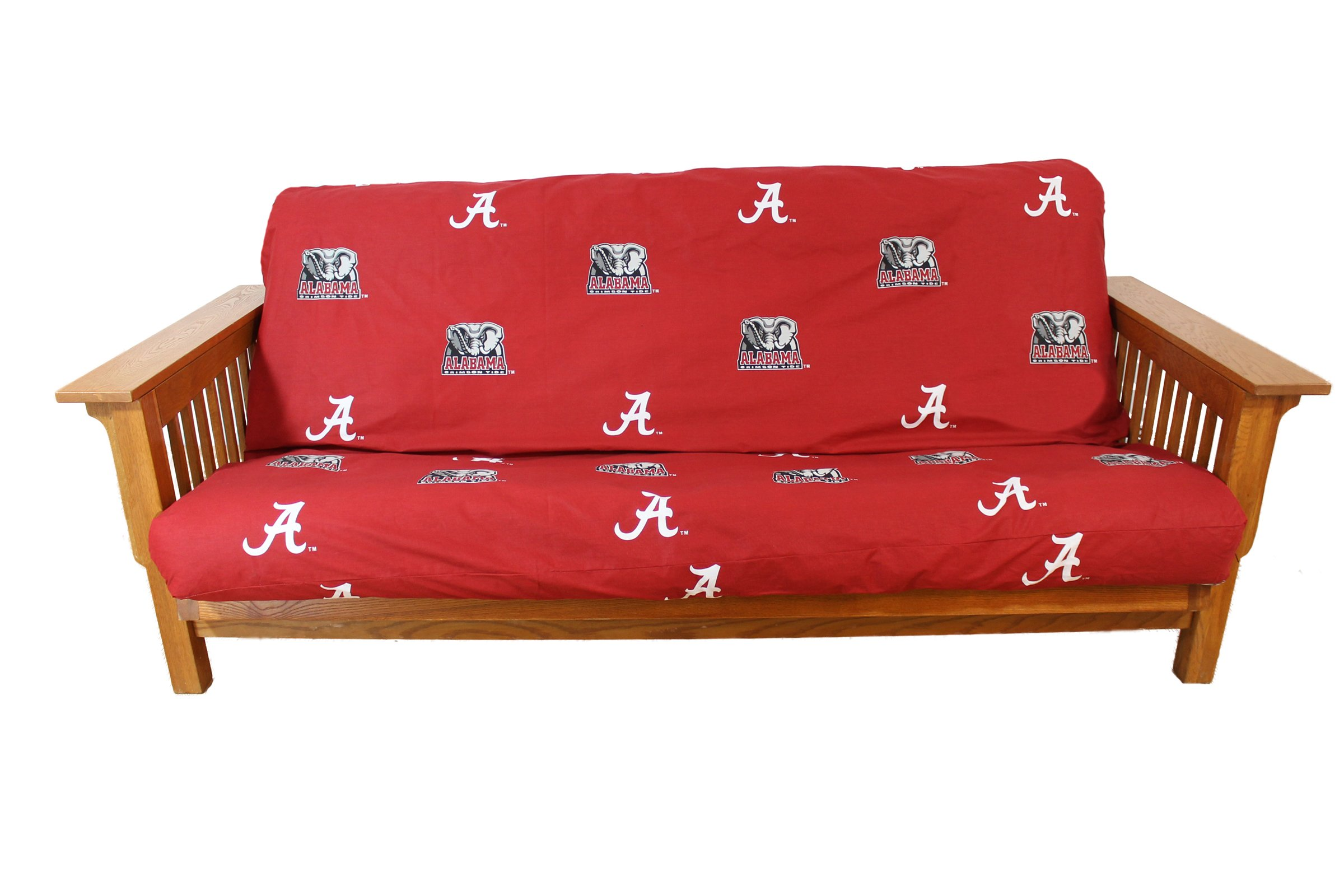 College Covers NCAA Alabama Tide Futon Cover, Full (54'' x 76'' x 6'') Size Fits 6'' and 8'' Mats, Crimson