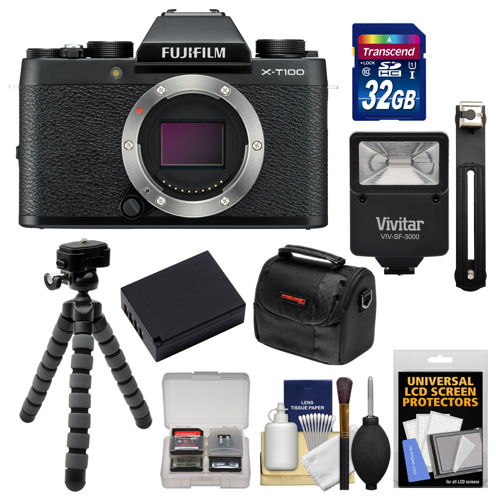 Fujifilm X-T100 Digital Camera Body (Black) with 32GB Card + Battery + Tripod + Flash + Case + Kit by Fujifilm