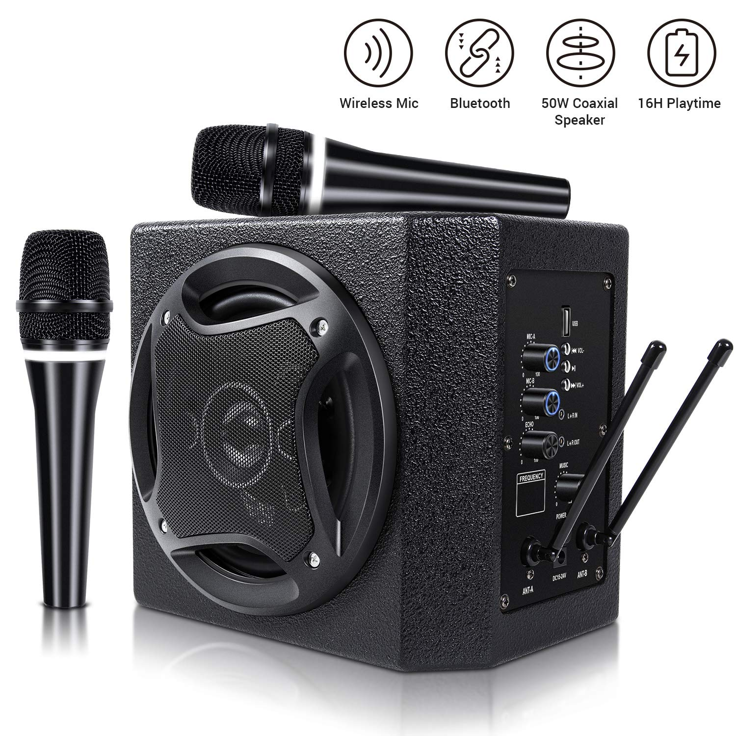 TONOR PA System Karaoke Machine with 50W Bluetooth Powered Speaker Wireless Microphones Handheld for Family Party, Indoor Meeting, Classroom Use, Public Speaking and Small Stage Performance by TONOR