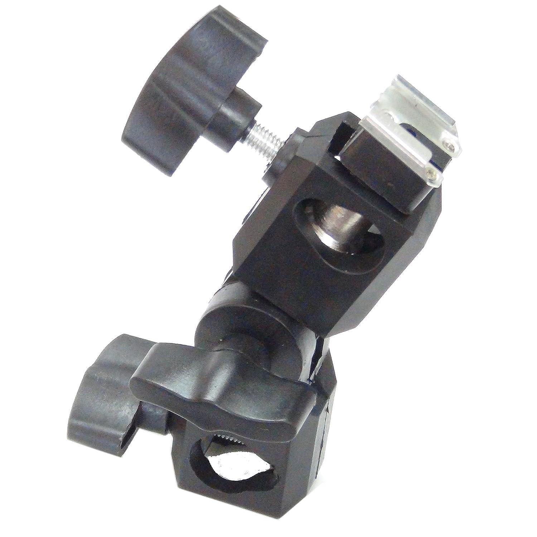 DynaSun FH35RB Supporto Adattatore Orientabile Professionale per Flash a Slitta Standard Hot Shoe con Aggancio a Supporto Cavalletto Stativo ed Inserto per Ombrello Confidence