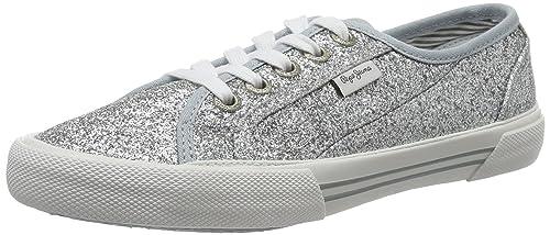 Pepe Jeans London Damen Aberlady Daisy Sneaker, Weiß (White