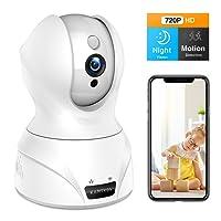 Wlan IP Kamera,KAMTRON 720P HD WiFi Überwachungskamera,mit 350°/100°Schwenkbar,Home und Baby Monitor mit Bewegungserkennung, Zwei-Wege-Audio, Nachtsicht, unterstützt Fernalarm und Mobile App Kontrolle
