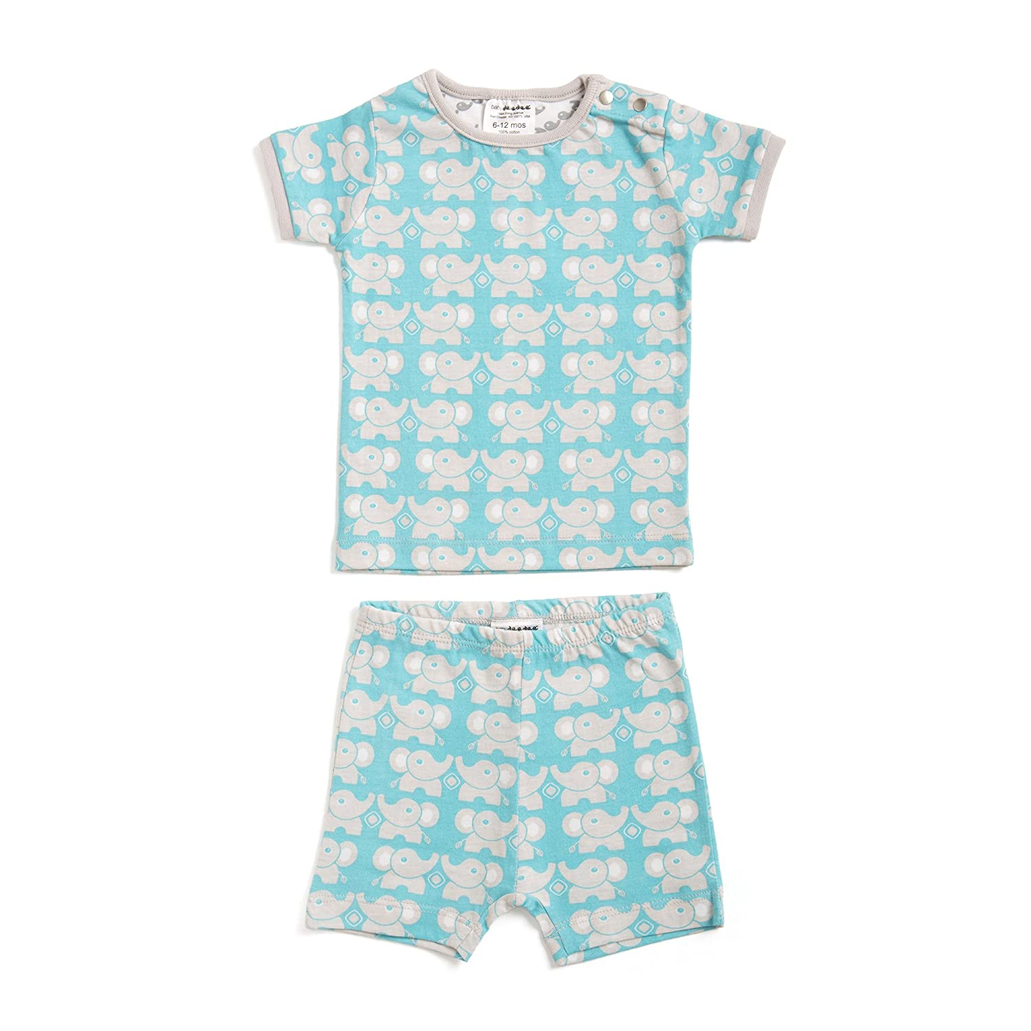 baby deedee Short Sleeve Cotton 2 Piece Tee Shirt//Shorts and Pajama Play Set 6-12 Months Teal Elephant